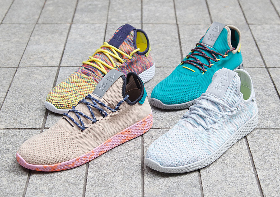 The Four Colorful New Pharrell x adidas Tennis Hu Colorways Drop Tomorrow