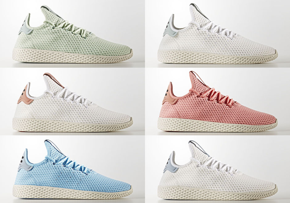 Six Colorways Of Pharrell's adidas Tennis Hu Release On August 8th