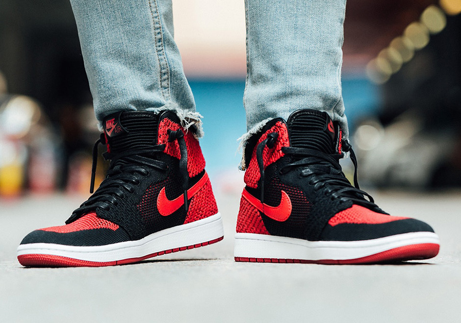 Air Jordan 1 Flyknit Bred Banned On-Feet Images 919704-001 ... 300f0fb56
