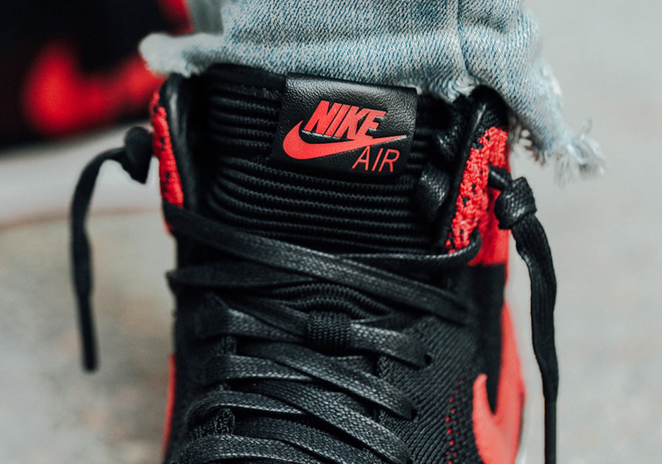 watch 1cb20 e7375 Air Jordan 1 Flyknit Bred Banned On-Feet Images 919704-001 ...