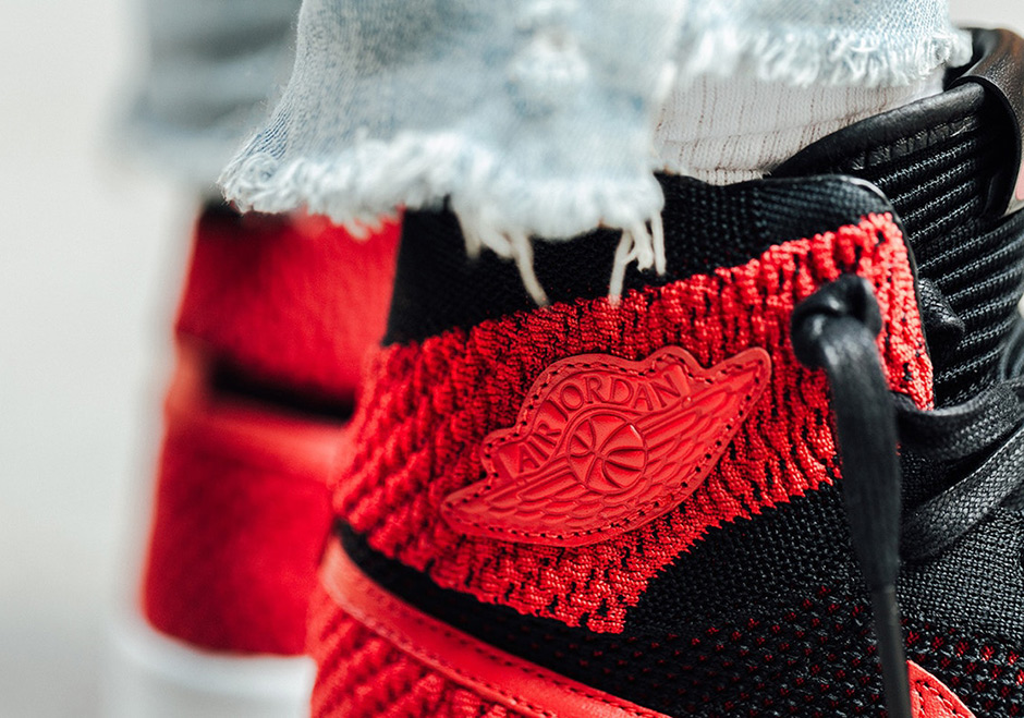 watch 9b4ce cf4e2 Air Jordan 1 Flyknit Bred Banned On-Feet Images 919704-001 ...