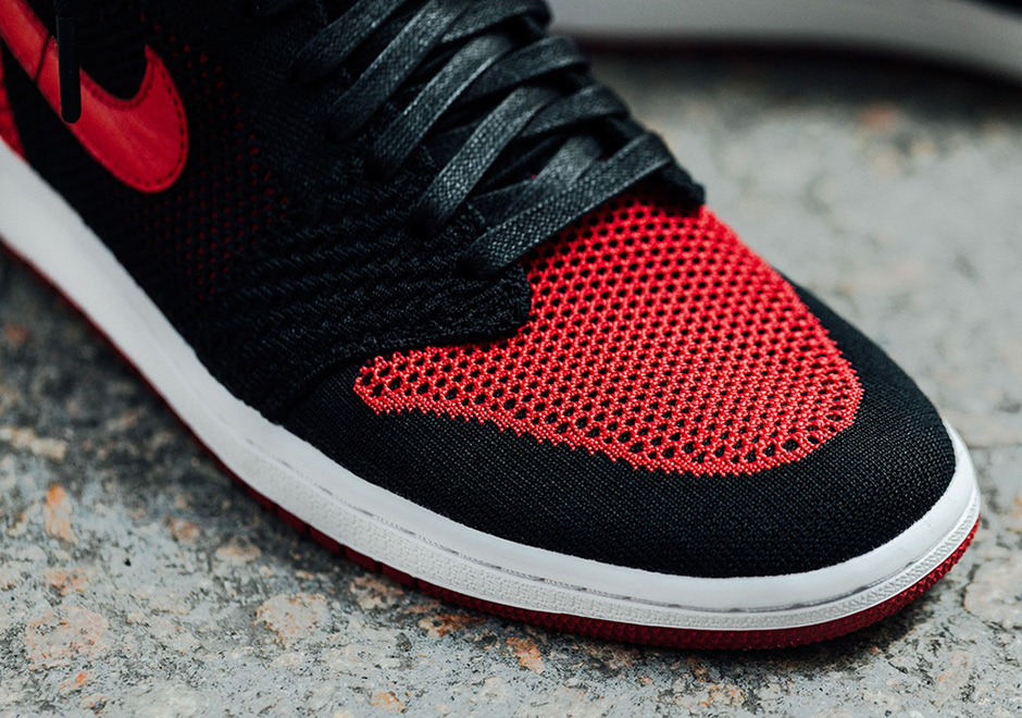 watch 3c507 457cb Air Jordan 1 Flyknit Bred Banned On-Feet Images 919704-001 ...