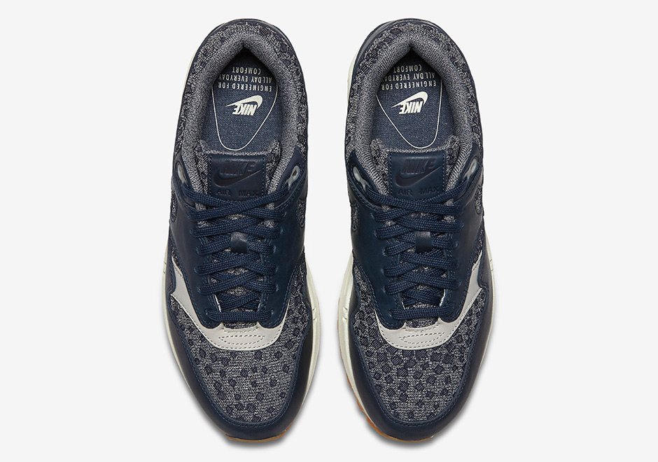 on sale 2e421 a4819 Nike Air Max 1 Premium Navy Leather Gum Soles 454746-403 ...