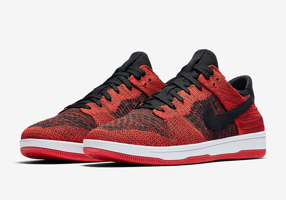 4375887018ef Nike Dunk Low Flyknit AVAILABLE AT Nike  120. Color  Varsity Red Black-White