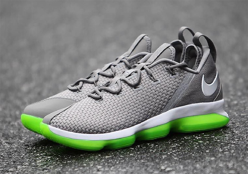 "Nike LeBron 14 Low ""Dunkman"" Release Date September 8th, 2017 150. Color  DustReflective Silver-Electric Green"