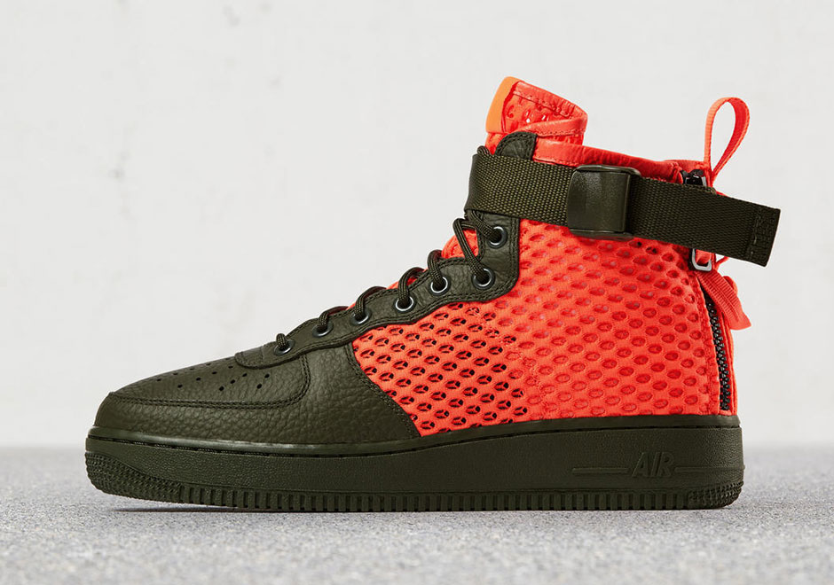 lowest price 2ec4d e1d96 Nike SF AF1 Mid Flight Jacket Olive Orange AA7345-300   SneakerNews.com