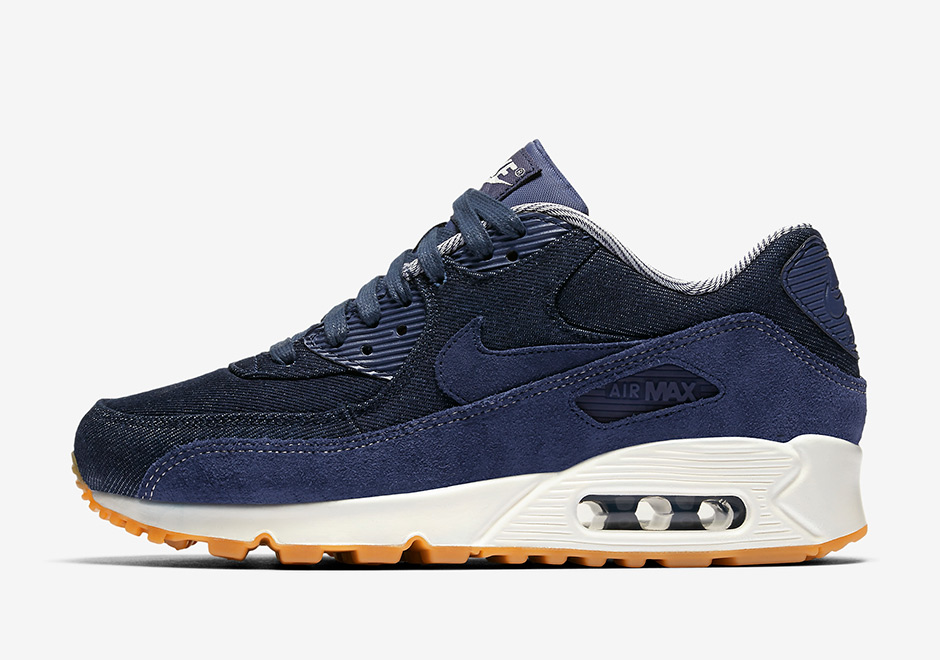 "premium selection 4ed76 506fd Nike WMNS Air Max 90 ""Denim"" AVAILABLE NOW AT Finish Line  120. Color   Midnight Navy Midnight Navy-Gum Light Brown"