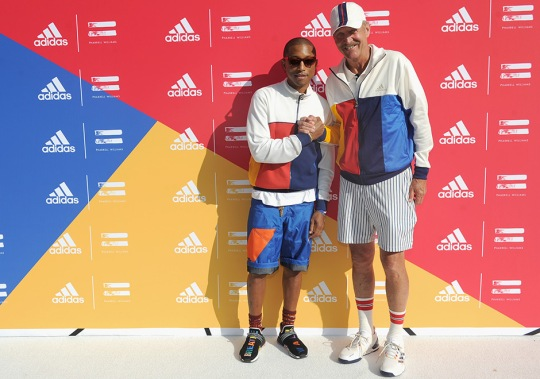 "Pharrell Wears New Multicolor adidas NMD Hu To ""Don't Be Quiet Please"" Event in NYC"