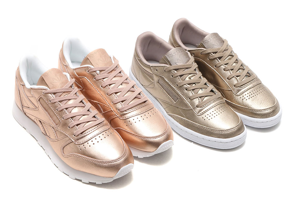 The Reebok Classic Leather and Club C are shining more than ever this fall  thanks to the new metallic gold editions that just dropped. 430980064