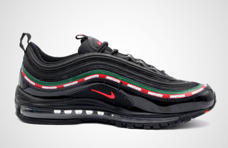 Undefeated x Nike Air Max 97 OG Release Date: September 21st, 2017 (Europe)  $180. Color: Black/Gorge Green/White-Speed Red