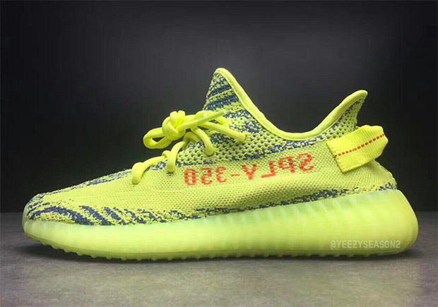 adidas Yeezy Boost 350 v2. Release Date: November 18th, 2017 $220. Color:  Semi-Frozen Yellow/Raw Steel/Red