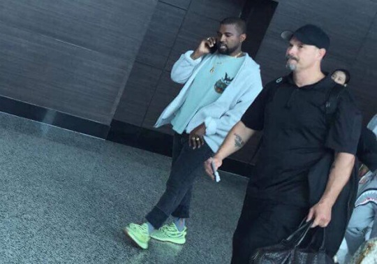 "Kanye West Spotted In adidas Yeezy Boost 350 v2 ""Semi Frozen Yellow"""