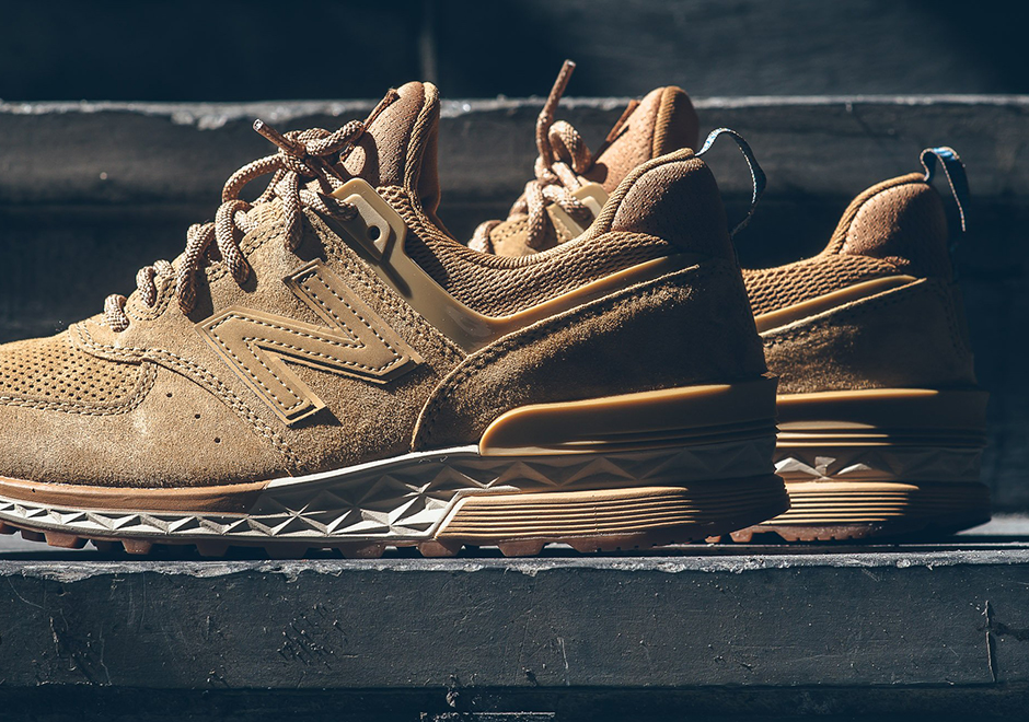New Balance 574 Sport Suede Wheat Olive