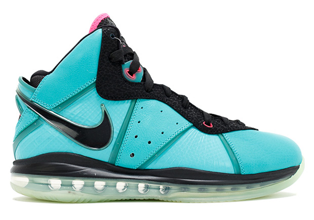 "6cbaca6e0909 Above  Nike LeBron 8 – The LeBron 8 was the first shoe to release after  ""The Decision"" to leave Cleveland for Miami. Seen here is the infamous  ""South Beach"" ..."