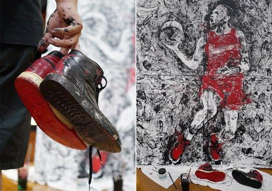 Artist Paints Michael Jordan Using Air Jordan 1 As A Brush