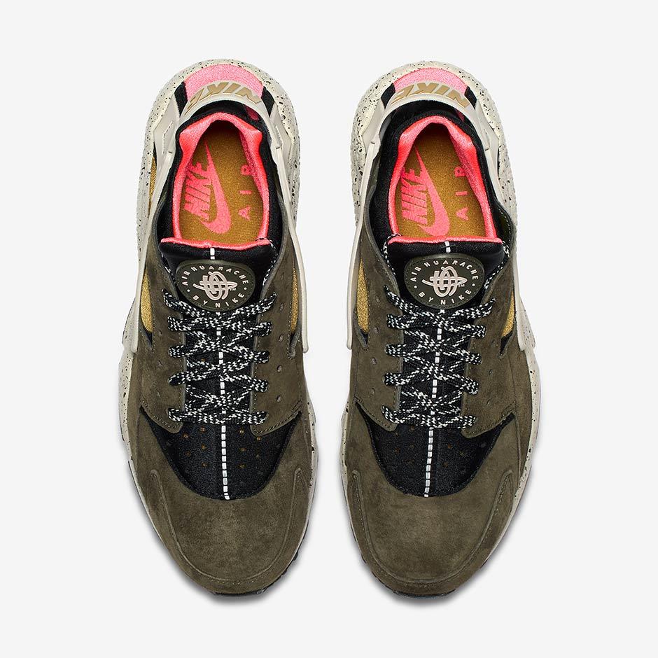 dc5553219a0a6 Nike Air Huarache  110. Color  Black Desert Moss-Solar Red-Pale Grey