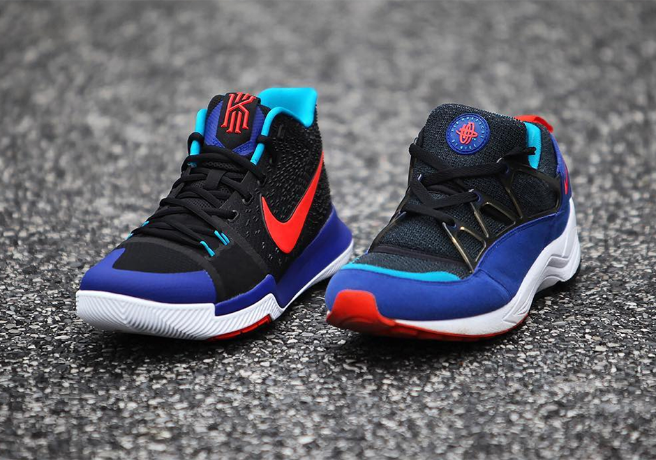 """7744ee2cad5d Nike Kyrie 3 """"Kyrache Light"""". AVAILABLE ON Nike.com  120. Color  Black Concord Neo  Turquoise Team Orange Style Code  852395-007"""