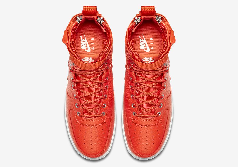 "f60cfbbb866 Nike SF-AF1 Mid ""Team Orange"" Release Date  Fall 2017  160. Color  Team  Orange White"