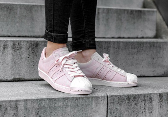 The Women's adidas Superstar Metal Toe Goes All Pink In Suede