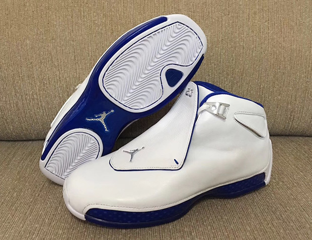 Air Jordan 18 $225. Color: White/Sport Royal-White-Metallic Silver