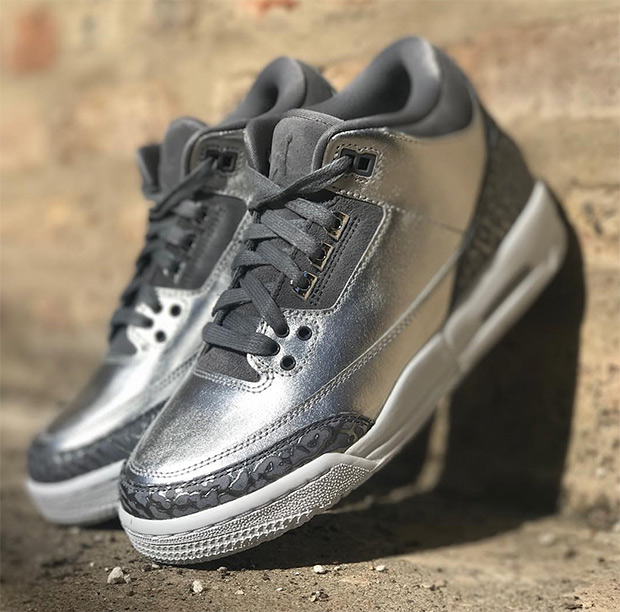 competitive price ee45c 88da5 Air Jordan 3 Retro PRM HC GG Release Date  November 11th, 2017  190. Color   Chrome Cool Grey-White-Metallic Silver