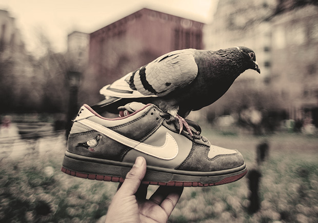 "After rumors were out that the famous Nike SB Dunk Low ""Pigeon"" by Jeff  Staple might be coming back as a Dunk High, it looks like there may be  something ..."