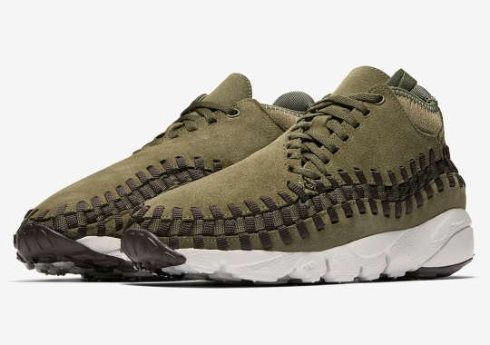 The Nike Air Footscape Woven Gets Mossy Green Suede With A Pop Of Pink