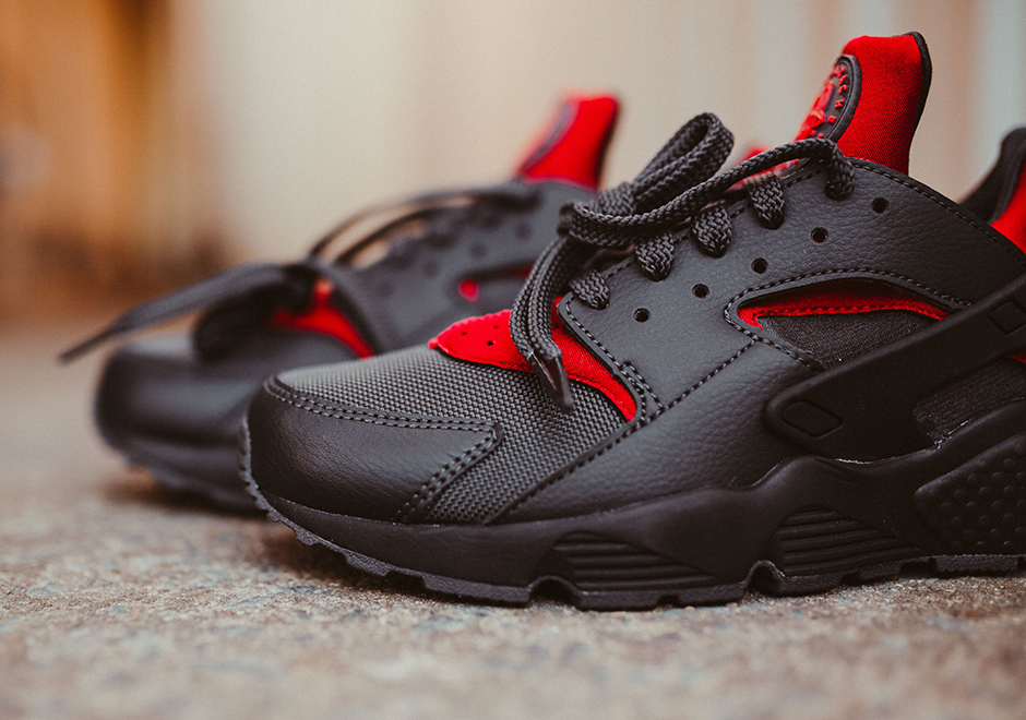 low priced e4204 fd4a0 If Dracula wore Huaraches, this would be his favorite pair. The black-as-night  and blood red Air Huarache is arriving now at select Nike Sportswear ...