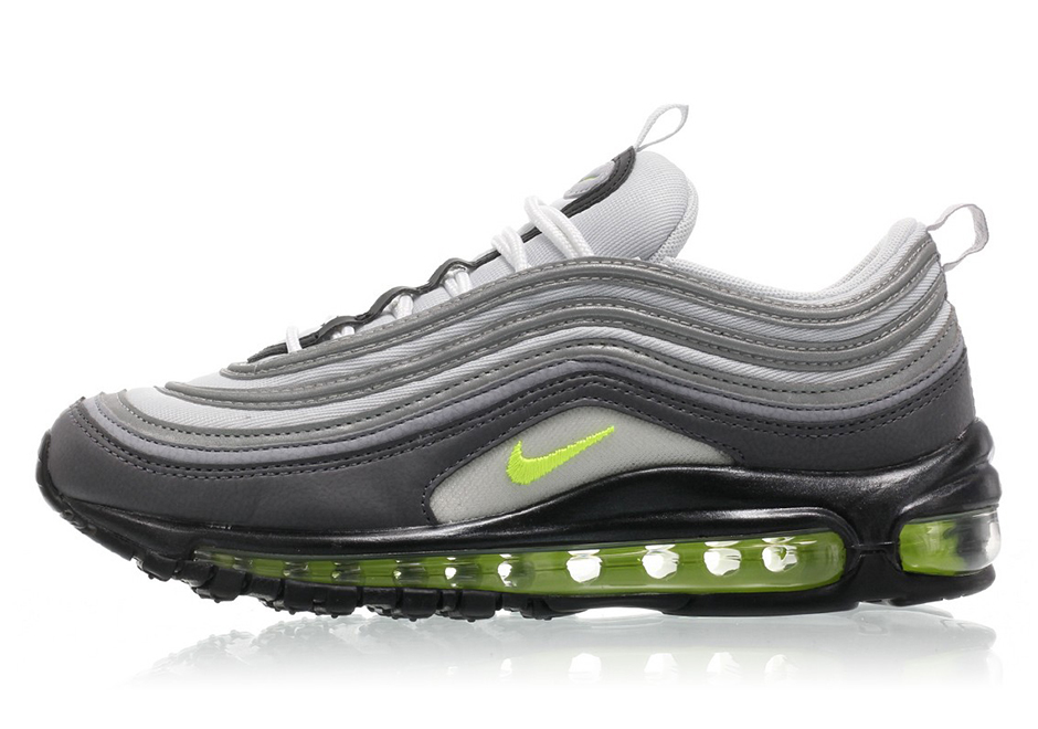 "Nike WMNS Air Max 97 ""Neon"" $160. Color: Dark Grey/Volt-Stealth-Pure  Platinum"