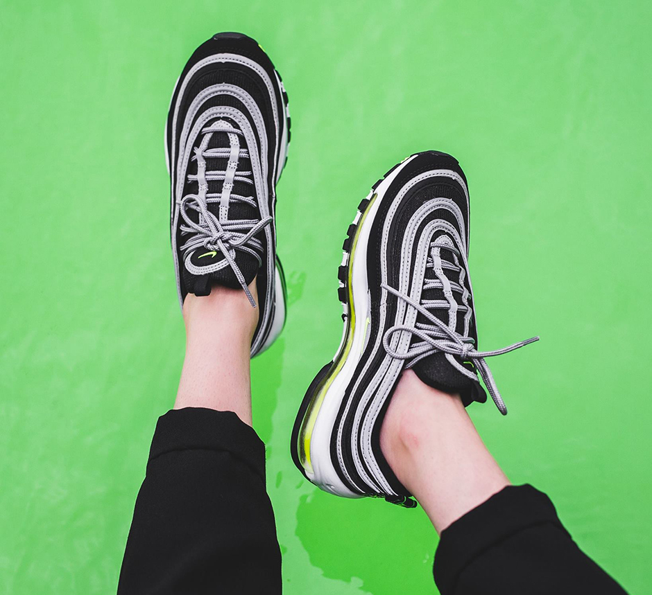 e3128a40f0829 Nike Air Max 97. Release Date: October 28, 2017 $160. Color: Black/Volt-Metallic  Silver-White Style Code: 921826-004. Advertisement