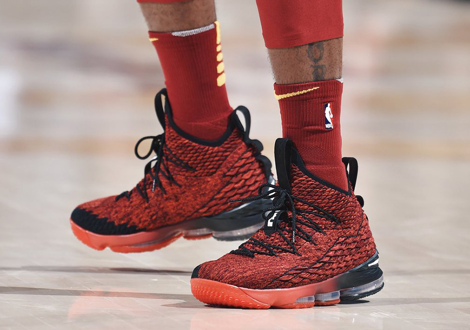 sale retailer bb4f4 bc327 LeBron James Reveals A Nike LeBron 15 PE In RedBlack