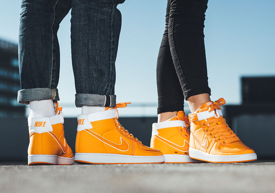 "wholesale dealer 33f0b 2f69b Confirmed for a release last week, the Nike Vandal High ""Doc Brown"" now  comes with a set of detailed images showing off the retro sneakers vibrant  orange ..."