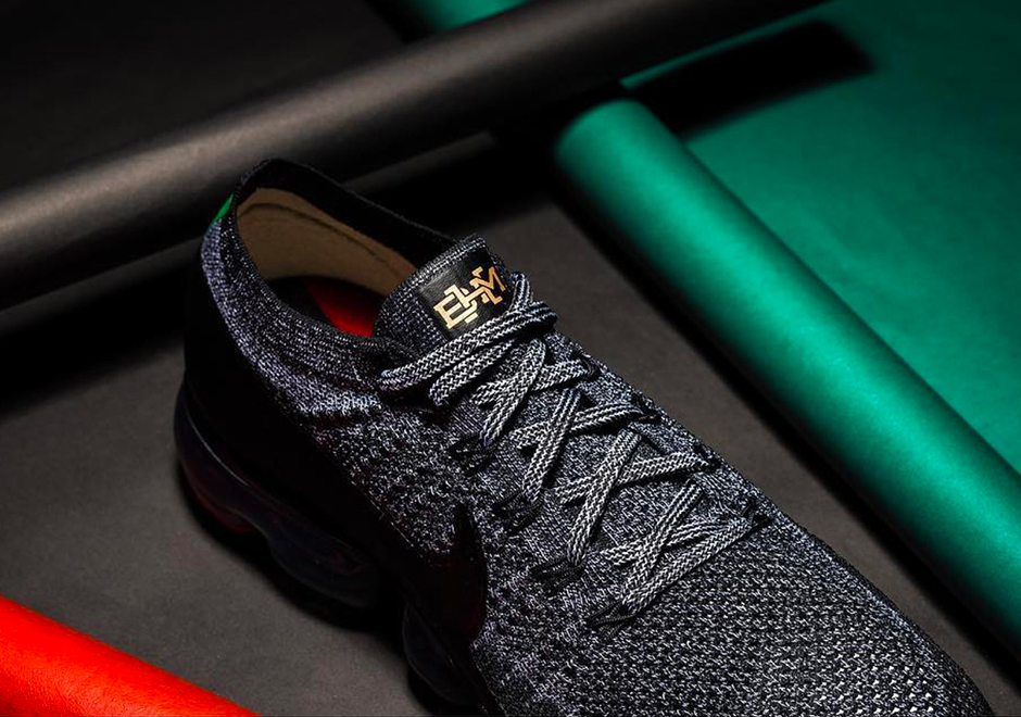 "huge discount 2db6f ce1c9 Nike Air VaporMax Flyknit ""BHM"" Release Date February 2018 205. Color  BlackWhitePale GreyMetallic Gold"
