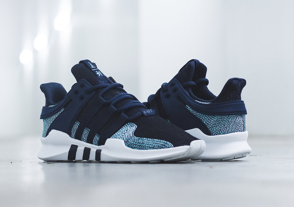 Parley x adidas EQT Suppport ADV 91/16. Release Date: October 14, 2017  $200. Color: Navy/Icey Blue