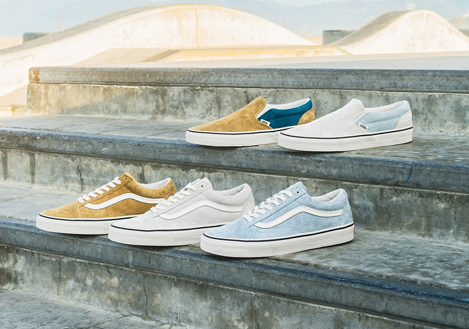Vans Adds A Retro Feel To The Old Skool and Slip-On In Fuzzy Suede And  Vintage Colors 715e8ef74