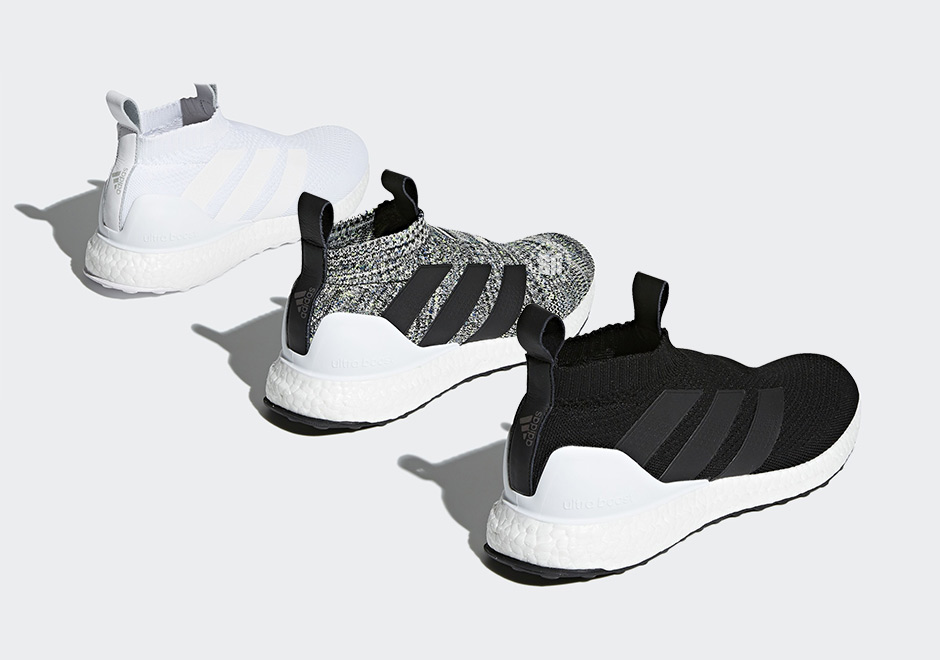 fb828b2933c1 The ever popular Ultra Boost cushion unit returns to the soccer-inspired  ACE16+ silhouette in three new colorways. The ACE16+ Ultra Boost model