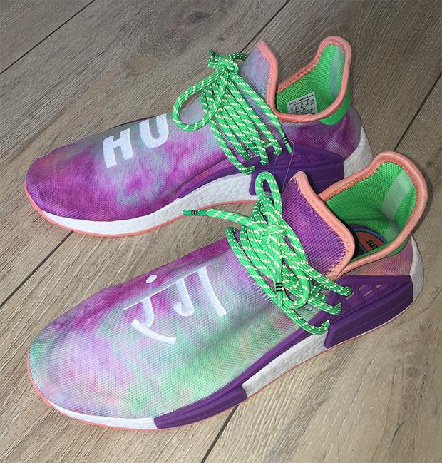 ab7ae065b0a704 pharrell williams x adidas nmd hu trail chalk coral flash green lab purple