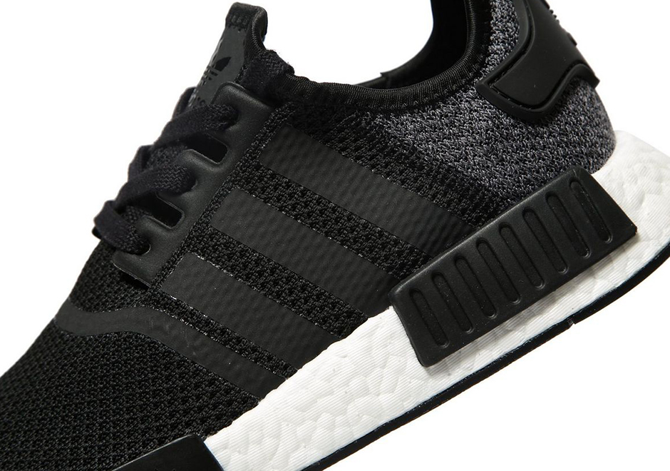 """f797048594062 adidas NMD R1 """"Wool Heel"""" AVAILABLE AT JD Sports £110.00. Color   Black Grey. Advertisement"""