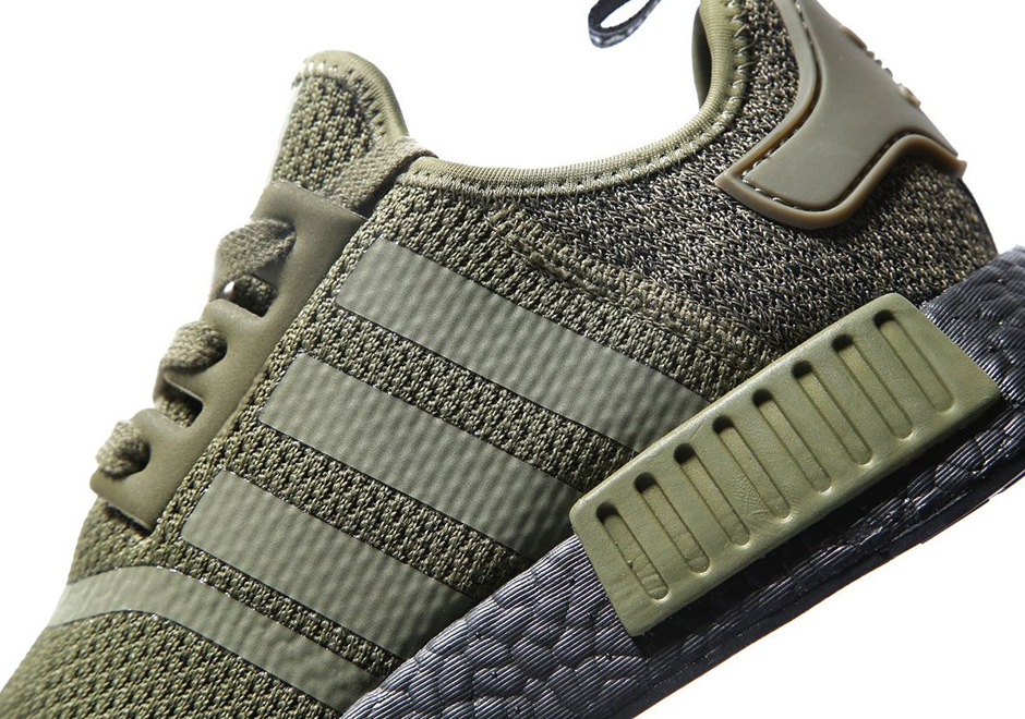 f2c20fe71 adidas NMD R1 Olive Wool Heel with Black Boost Sole Available Now ...