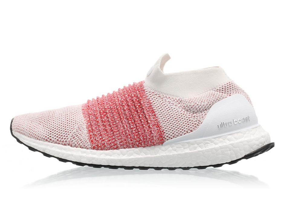 brand new 458b7 b69a4 adidas Ultra Boost Laceless Color Footwear WhiteFootwear White-Trace  Scarlet Style Code BB6136