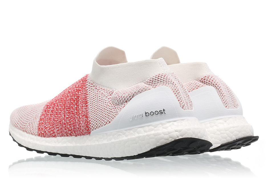 3bb24be67 adidas Ultra Boost Laceless Color  Footwear White Footwear White-Trace  Scarlet Style Code  BB6136. Advertisement