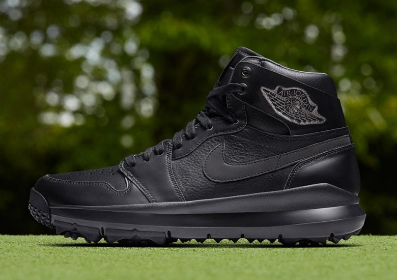 67232104129398 The Next Air Jordan 1 Golf Shoe In Black Leather Has A One Year Warranty