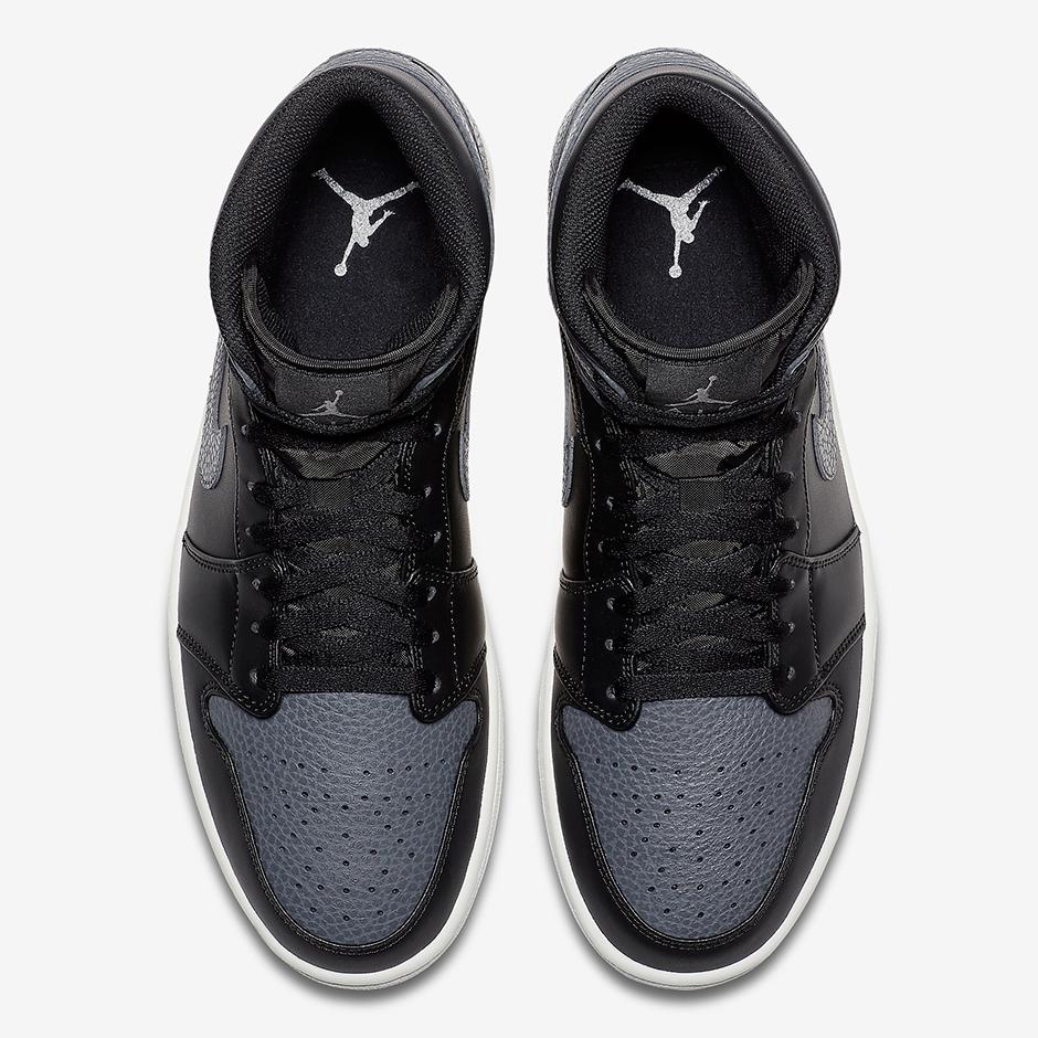 Air Jordan 1 Mediados De Cuero Gris Oscuro Cayó Superior V1NPM