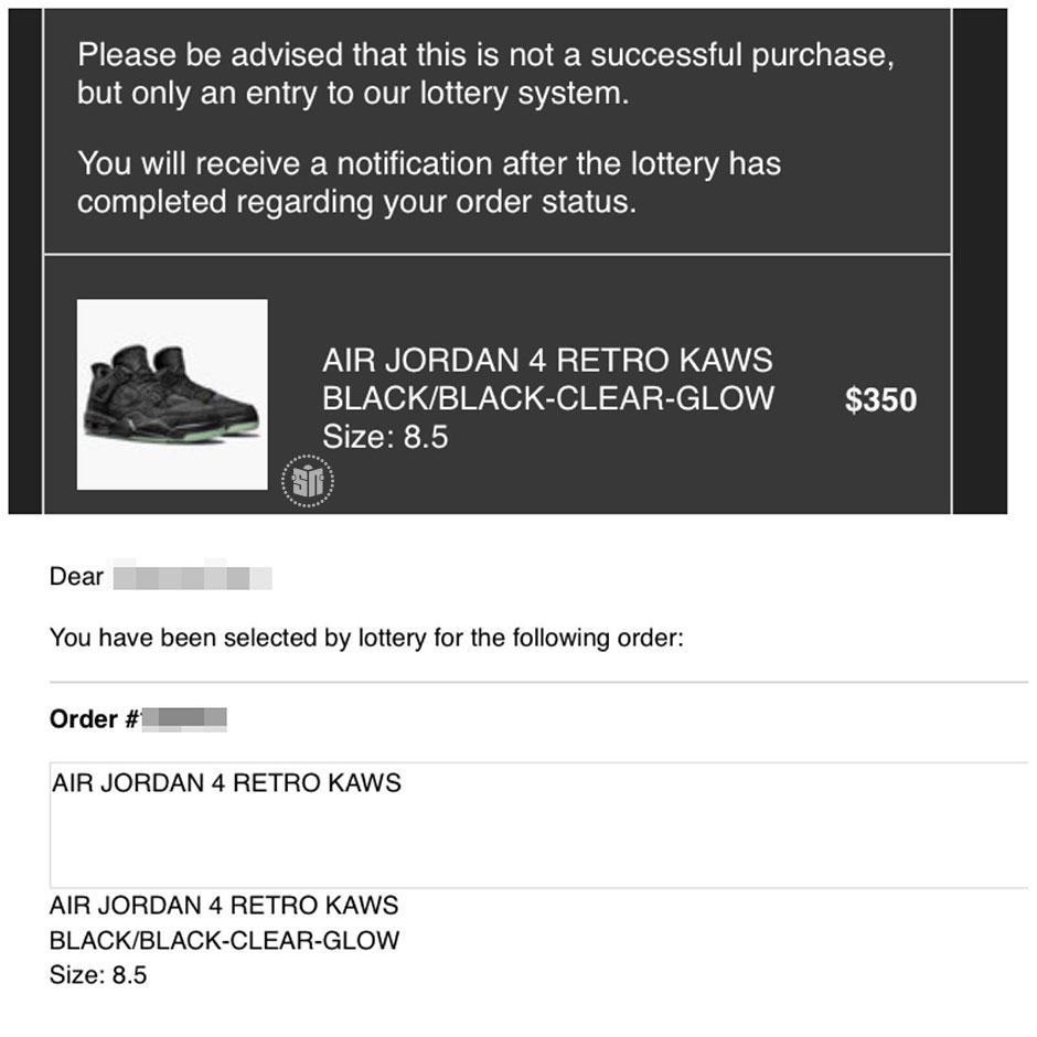 c53385a144b14f Jordan 4 KAWS Black Lottery Results