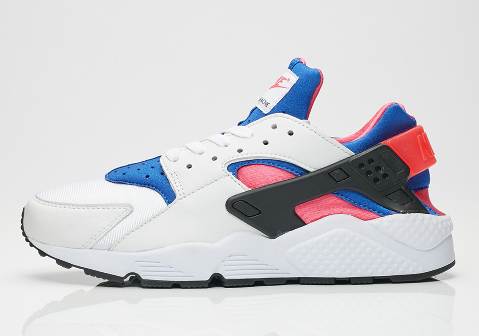 reputable site 1f4f4 0f7d4 Nike Air Huarache QS AVAILABLE AT SNS  129. Color  White Game  Royal-Black-Dynamic Pink