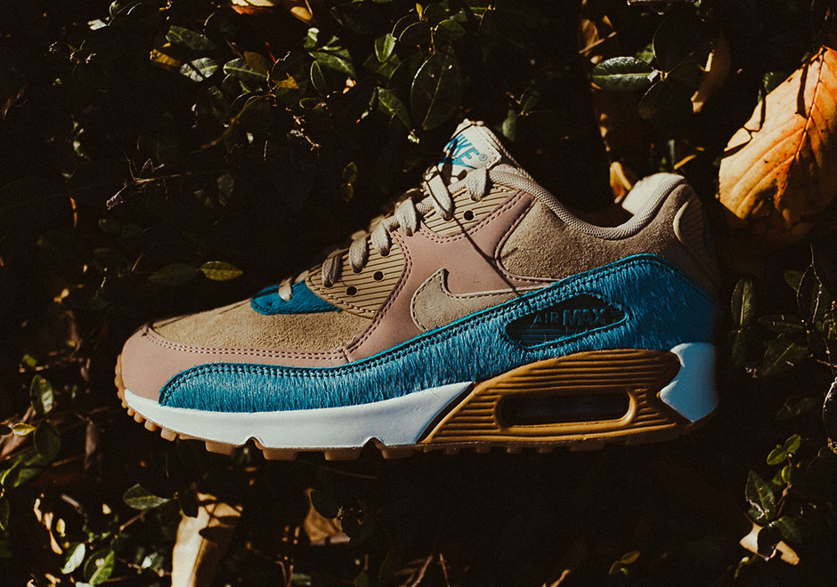 official photos 977e8 0cd9e Nike is giving the classic Air Max 90 an interesting touch of flair with a  new womens colorway that incorporates Smokey Blue pony hair. The shoes  upper ...