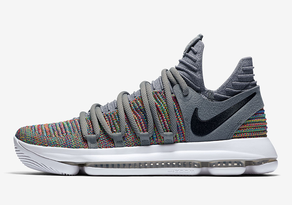 "Multicolor Flyknit made its way onto several Nike KD 9 models last season  and now its making a return on the Nike KD 10 ""Multicolor""."