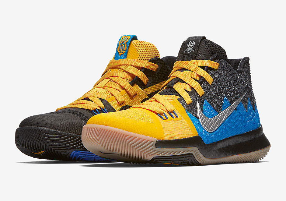 "hot sales 70eeb 0c664 Nike ""What The"" Kyrie 3. Release Date  December 1, 2017. AVAILABLE AT eBay   100. Color  University Gold Blue Glow-Black"