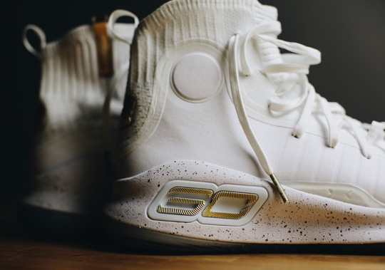 Steph Curry's UA Curry 4 Drops Tomorrow In White And Gold
