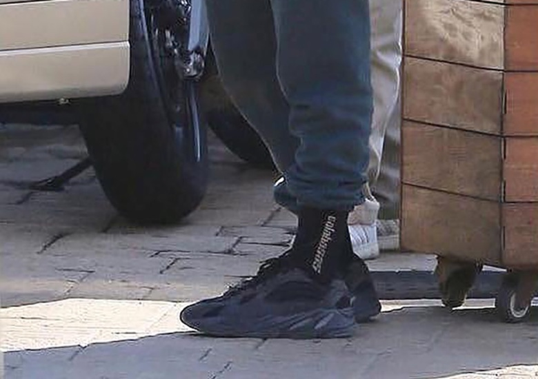 "Kanye West Spotted In ""Triple Black"" adidas Yeezy 700 Wave Runner b8f470a3f"